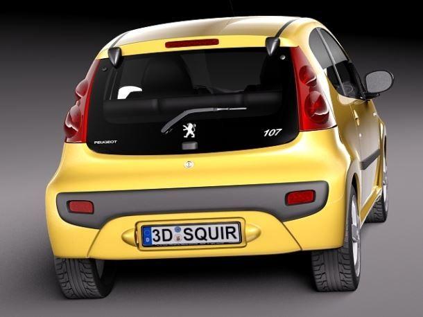 Фото: Вид сзади на трёхдверный Peugeot 107
