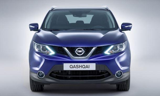Фото: Вид спереди на Nissan Qashqai 2 2014 синего цвета
