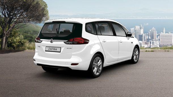 Фото: Вид сзади на  Opel Zafira Tourer 2014, белого цвета