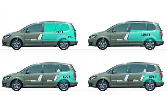 Фото: Размеры багажника в зависимости от положения кресел